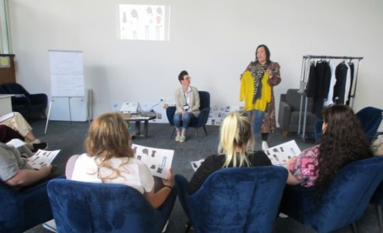 Dress for Success Coach Claire French (seated) and Stylist Vicki McMillan lead a Dress for Success course at Christchurch Women's Prison.
