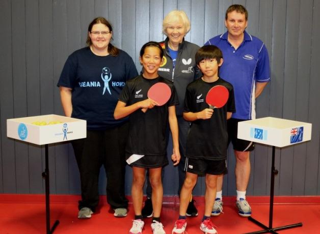 Back left - Waikato Table Tennis Coach Jessica MacAskill, Eva Jeler, Paul Whitehead Front left – 2019 New Zealand under 12 table tennis champions Heidi Liao and Timothy Choi.
