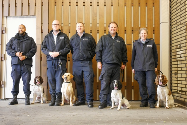 Detector Dog team (l to r): Matt Feterika and Aussie, Ricky Trevithick and Preston, Southern Regional Manager Damian Hancock, Kent Sanders and Wally, and Fiona Muir and Spark.