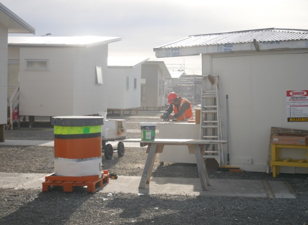 A prisoner works in one of Rolleston Prison's construction yards.