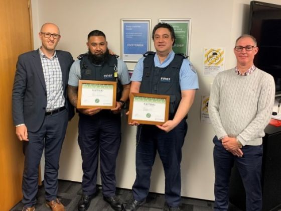 (L-R): Programme Manager Prison Population and Manager of the Prison Population team Matt Gibbs, the two First Security officers, and Principal Adviser Prison Population Paul Smith.
