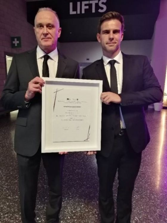 Corrections Works Lead Simon Thomson (L), and Senior Project Manager Patrick Dowle (R) at the Property Industry Awards in Auckland.