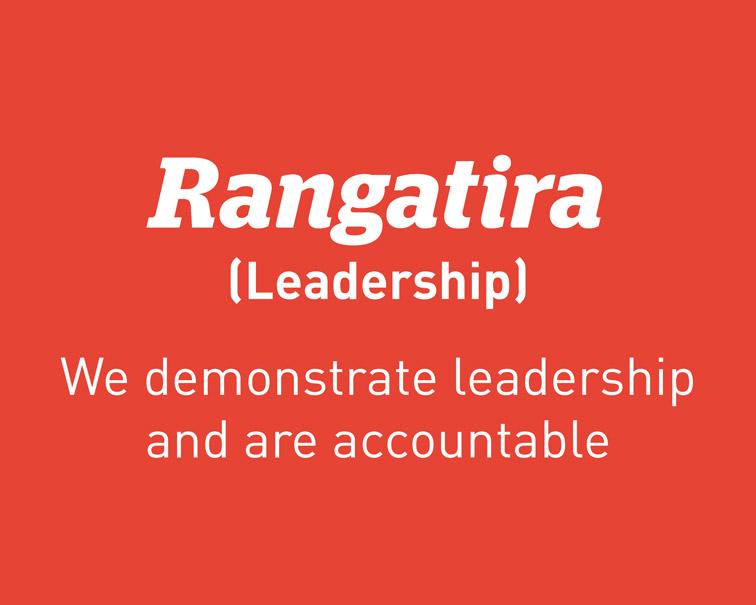 Practice value - Rangatira (Leadership): We demonstrate leadership and are accountable.