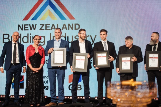 Corrections Senior Project Manager Patrick Dowle, third from right, with project partners and former Minister for Building & Construction Hon. Jenny Salesa at the Building Industry Awards in Auckland.