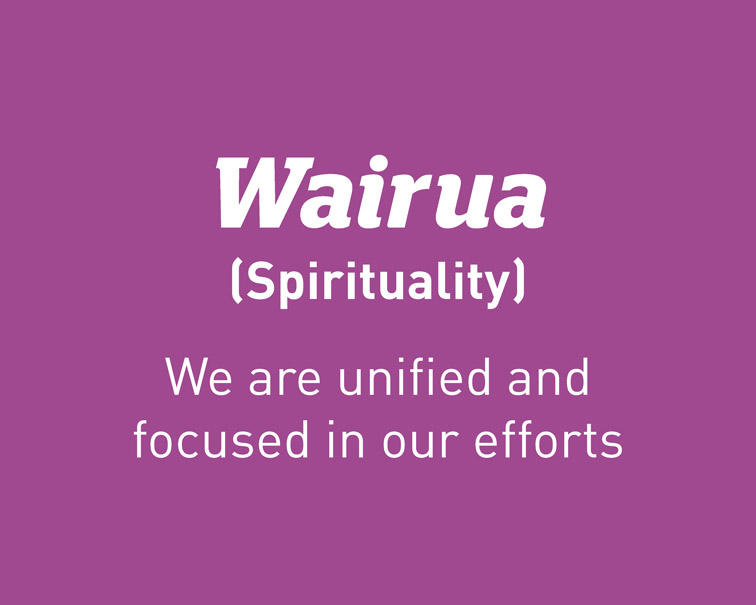 Practice value - Wairua (Spirituality): We are unified and focused in our efforts.